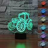 Jinnwell 3D Car Tractor Night Light Lamp Illusion Animal Night Light 7 Color Changing Touch Switch Table Desk Decoration Lamps Perfect Christmas Gift with Acrylic Flat ABS Base USB Cable Toy