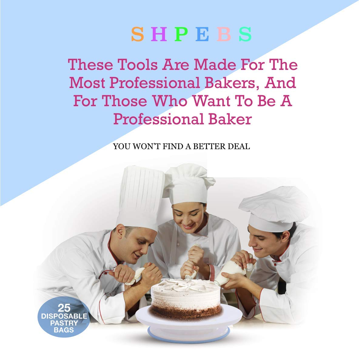 Cake Decorating Supplies For Beginners | Cake Decorating Kit Baking Supplies Set | Rotating Cake Turntable Stand | Icing Piping Tips & Bags | Smoother & Spatulas, Frosting & Pastry Tools. 4 🍪 EXQUISITE BAKING & PASTRY MASTERPIECES! You don't need a white chef's jacket to create divine, decadent, and undeniably delectable cakes, cupcakes, cookies, and other delicious desserts & baked goods. Go all-out with this ultimate kitchen set! Perfect as a Gift for all ages 🍰 ALL-IN-ONE BAKING KIT - Set Includes: | Nonslip Rotating Turntable Stand | 24 Piping Tips | 5 Russian tips | Cleaning Brush | Piping Bags | 2x Tip Coupler | Flower Lifter | 1x Flower Nails | 1x Spatula | 3x Cake Scrapers | 1x Silicone Piping Bags | 25x Disposable Pastry Bags | Icing Design Chart. 🍪 FUN FOR ALL AGES AND SKILL LEVELS - This all in one kit is great for beginners or experienced cake designers. You supply the ingredients and we supply all the tools you will need to inspire your creativity. If you enjoy baking decorating, the possibilities are endless with this complete set! All tools & accessories are 100% dishwasher safe.