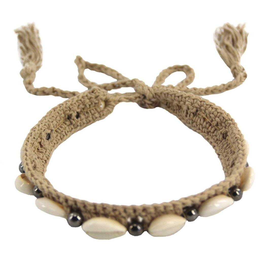 Hongxin Charm Handmade Choker Natural Real Shell Double Layer Braided Leather Chain Necklace Hawaiian Sea Shell Beach Necklace Jewelry Creative Gift For Her (Beige)