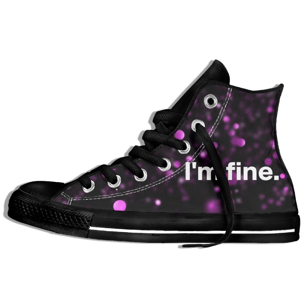 I'm Fine High Top Classic Casual Canvas Fashion Shoes Sneakers For Women & Men