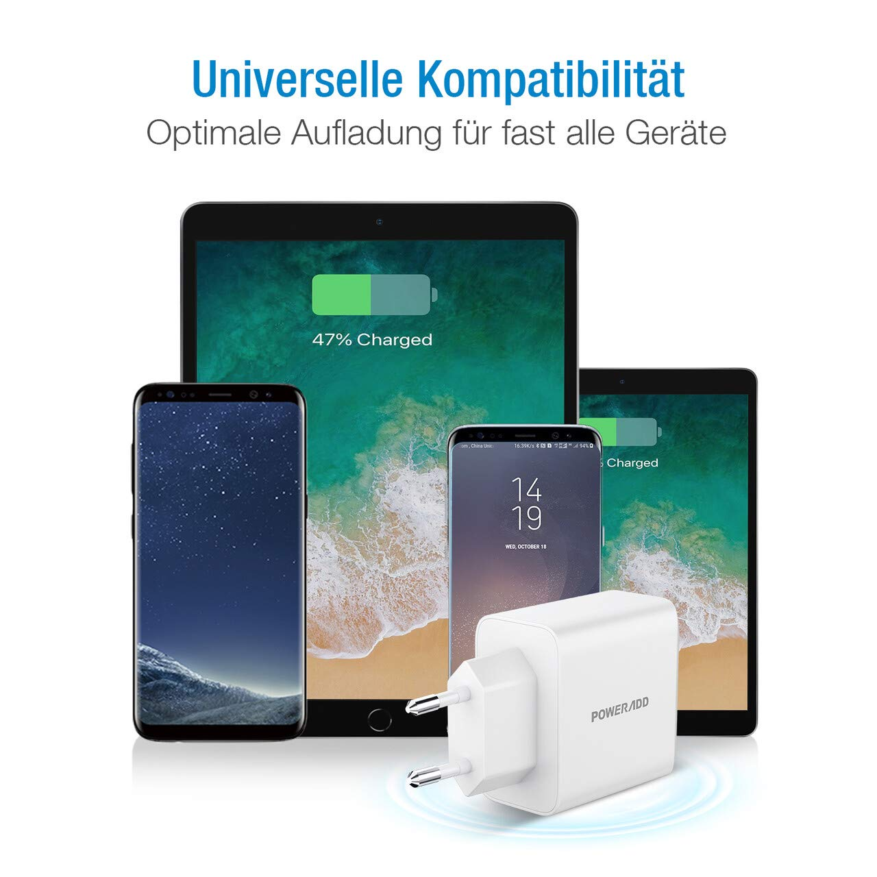 POWERADD 24W USB Ladegerät 2 Ports USB Charger Netzteil Ladeadapter 2.4A pro Port mit SmartID-Technologie für Apple, Wuawei, Samsung, Xiaomi, TCL, LG, Powerbank, MP3 usw.