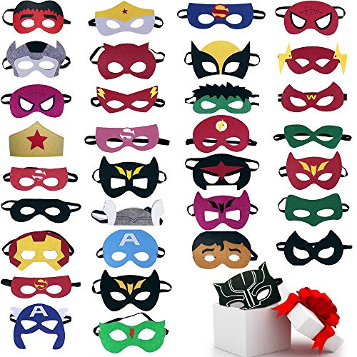 TEEHOME Superhero Masks Party Favors for Kid (33 Packs) Felt and Elastic - Superheroes Birthday Party Masks with 33 Different Types Perfect for -