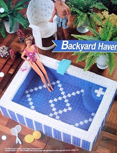 Backyard Haven - Hot Tub & Chair PLASTIC CANVAS PATTERN for Barbie or Fashion Doll Dollhouse from Annie's Fashion Doll Plastic Canvas Club - Dollhouse Club