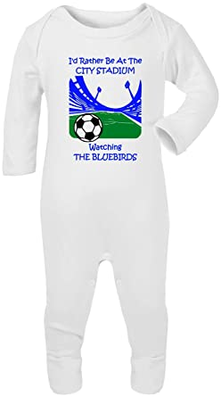 5087e2434 Hat-Trick Designs Cardiff City Football Baby Romper Sleep Suit-White ...