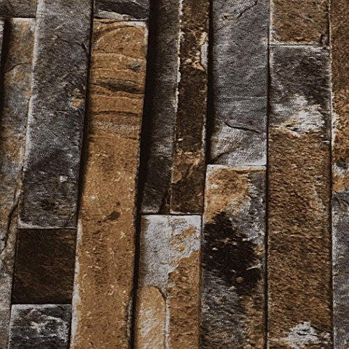 Wallpaper Removable Brick 3D Textured Effect Natural Embossed Stack Stone Wallpaper for Bedroom Walls Living Room Kitchen Home Design Decoration by cosway (Image #4)