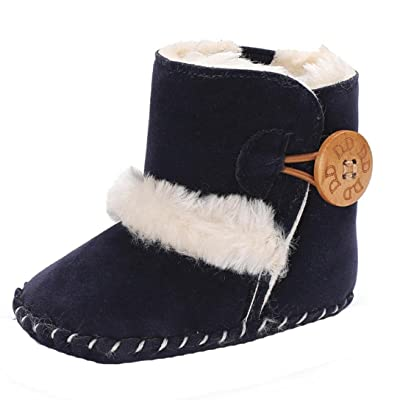 AMA(TM) Baby Snowboots Newborn Boy Girl Warm Fur Boots Toddler Winter Booties Soft Sole Crib Shoes