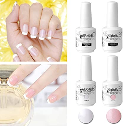 Elite99 Kit Manicura Francesa Uñas De Gel Polish Esmalte Semipermanente Color Gel Top Y Base Coat 4pcs Laca Soak Off Top Coat Base Coat Uv Led