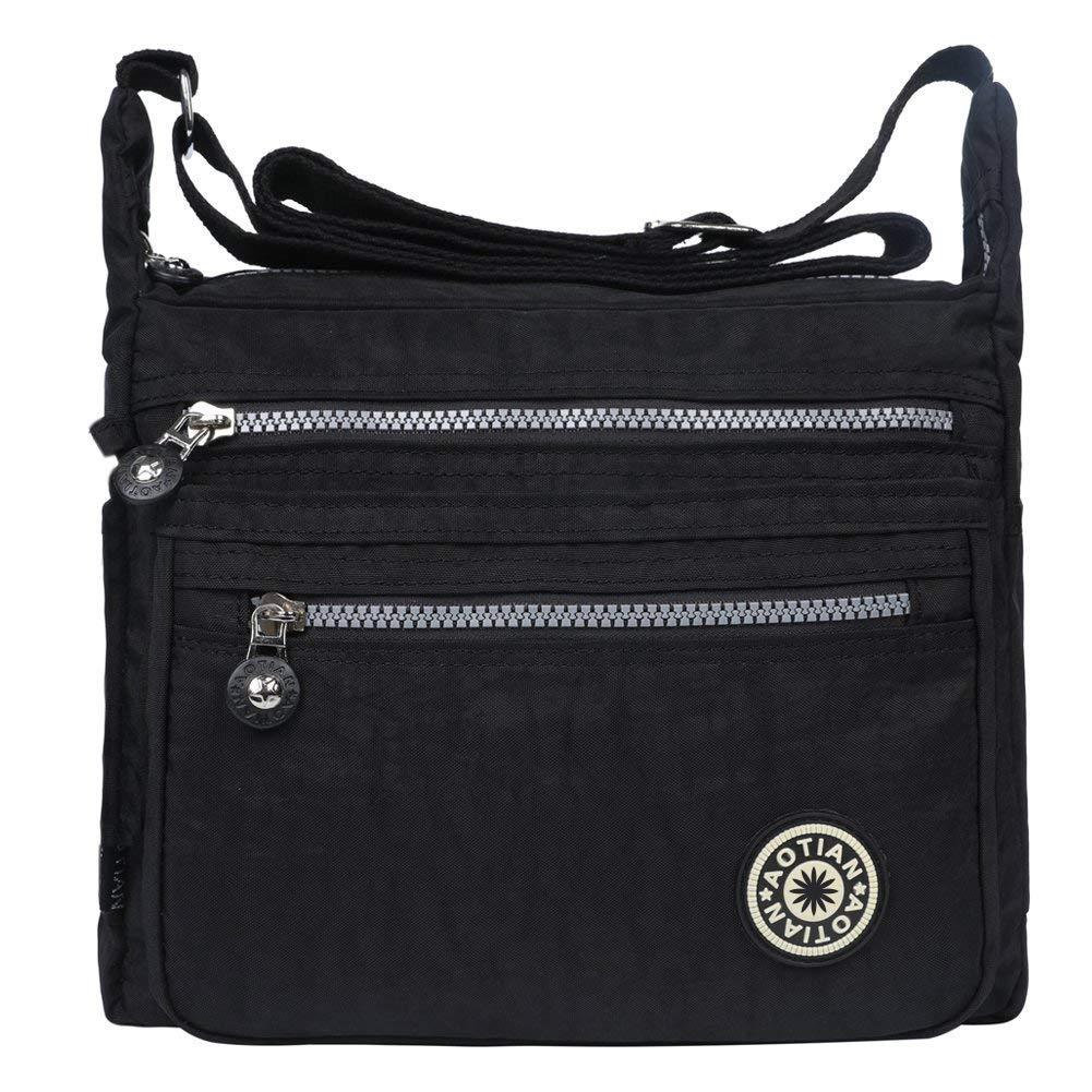 EGOGO donne borse a spalla borsa a tracolla muliti tasche borsetta E303-5 (Blu)
