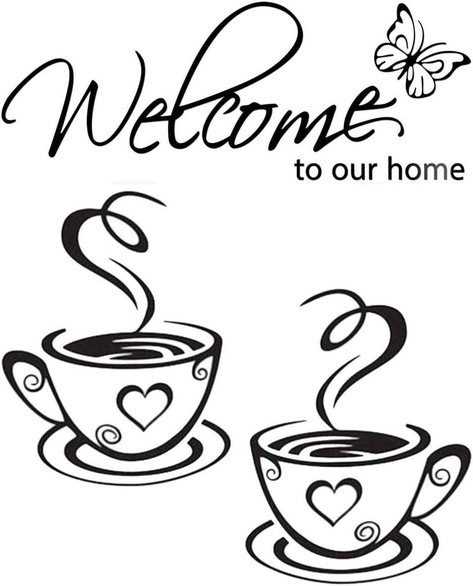 Gusuhome Welcome to Our Home Wall Sticker,Dual Coffee Cup Quotes Motivational Wall Decals,Family Inspirational Wall Stickers for Kitchen Dinning Room Decoration