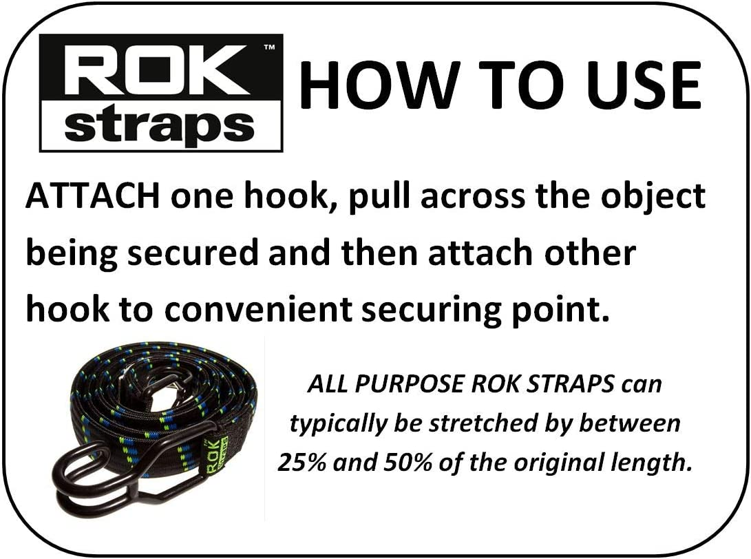ROK All Purpose Heavy Duty Bungee Straps with Hooks ROK120025 Black 1200mm x 25mm Flat Cargo Stretch Strap PACK of 2