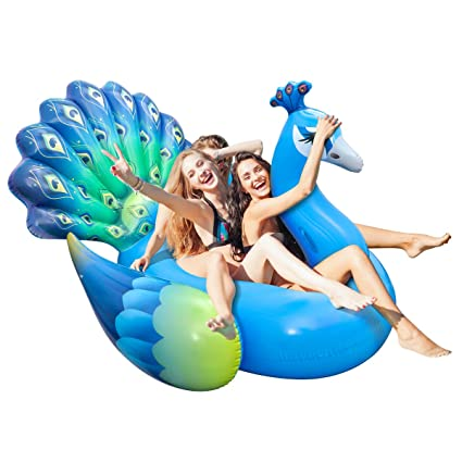 Intex Giant Inflatable Peacock Island Ride On Swimming Pool Float Mat Raft
