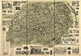 1900 18 x 23 Old Vintage Antique Map Allentown, Penna. 1901. Professional Reprint a2359