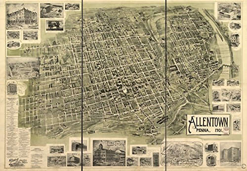 1900 18 x 23 Old Vintage Antique Map Allentown, Penna. 1901. Professional Reprint a2359 by Vintography