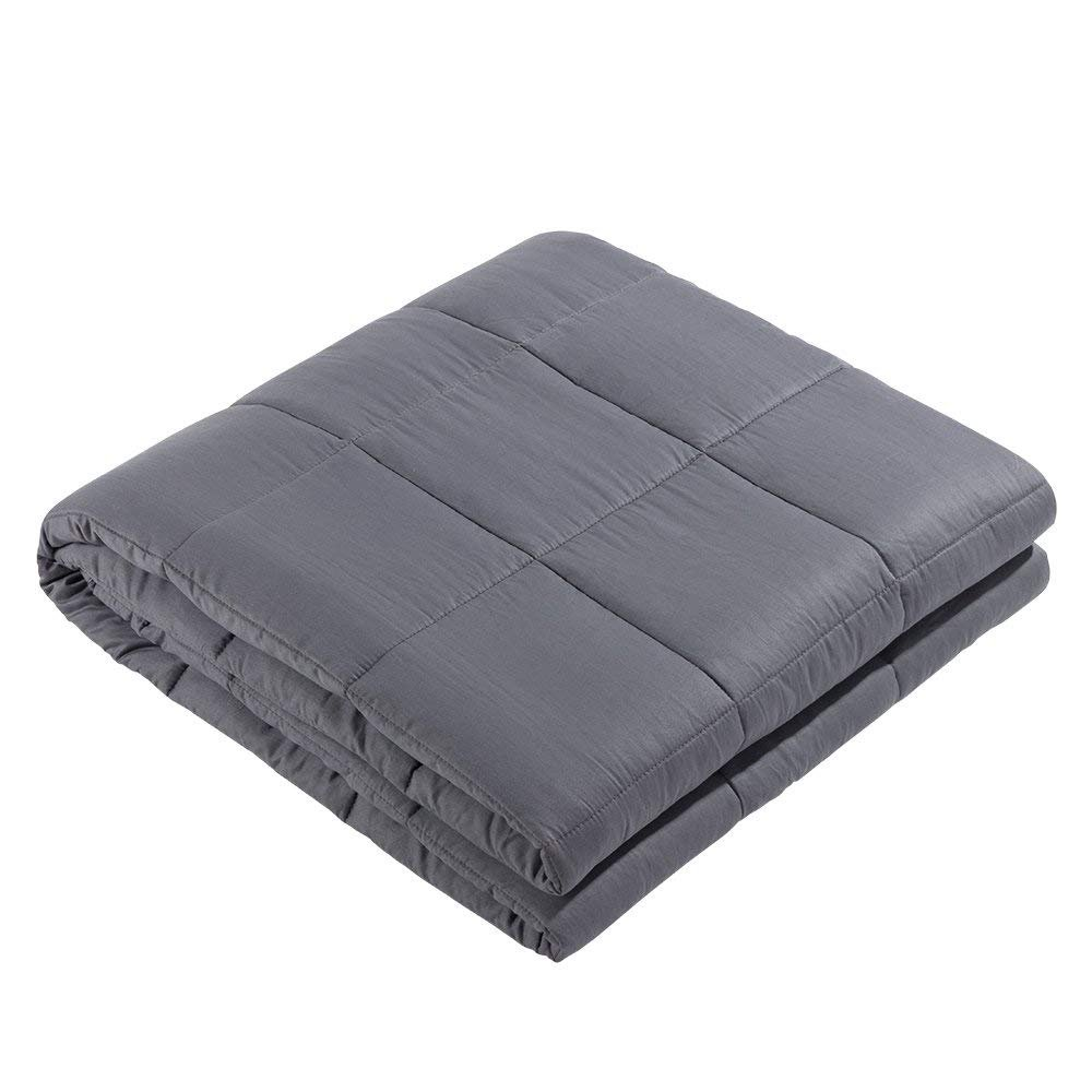 Witlucky Weighted Blanket for Adults, 100% Cotton and Glass Beads, Great for Insomnia, ADHD, Autism, OCD and Sensory Processing Disorder, Stress Anxiety Depression Relief (Grey,60''x80'',15lbs) 60''x80''
