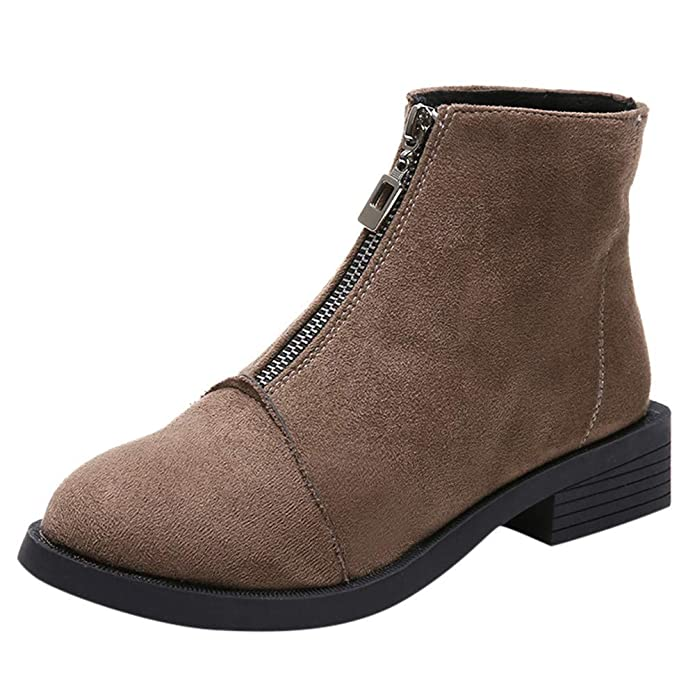 Amazon.com | Creazrise Womens Fall Western Ankle Boots Stacked Heel Suede Zipper Booties Shoes (Khaiki, 8) | Ankle & Bootie