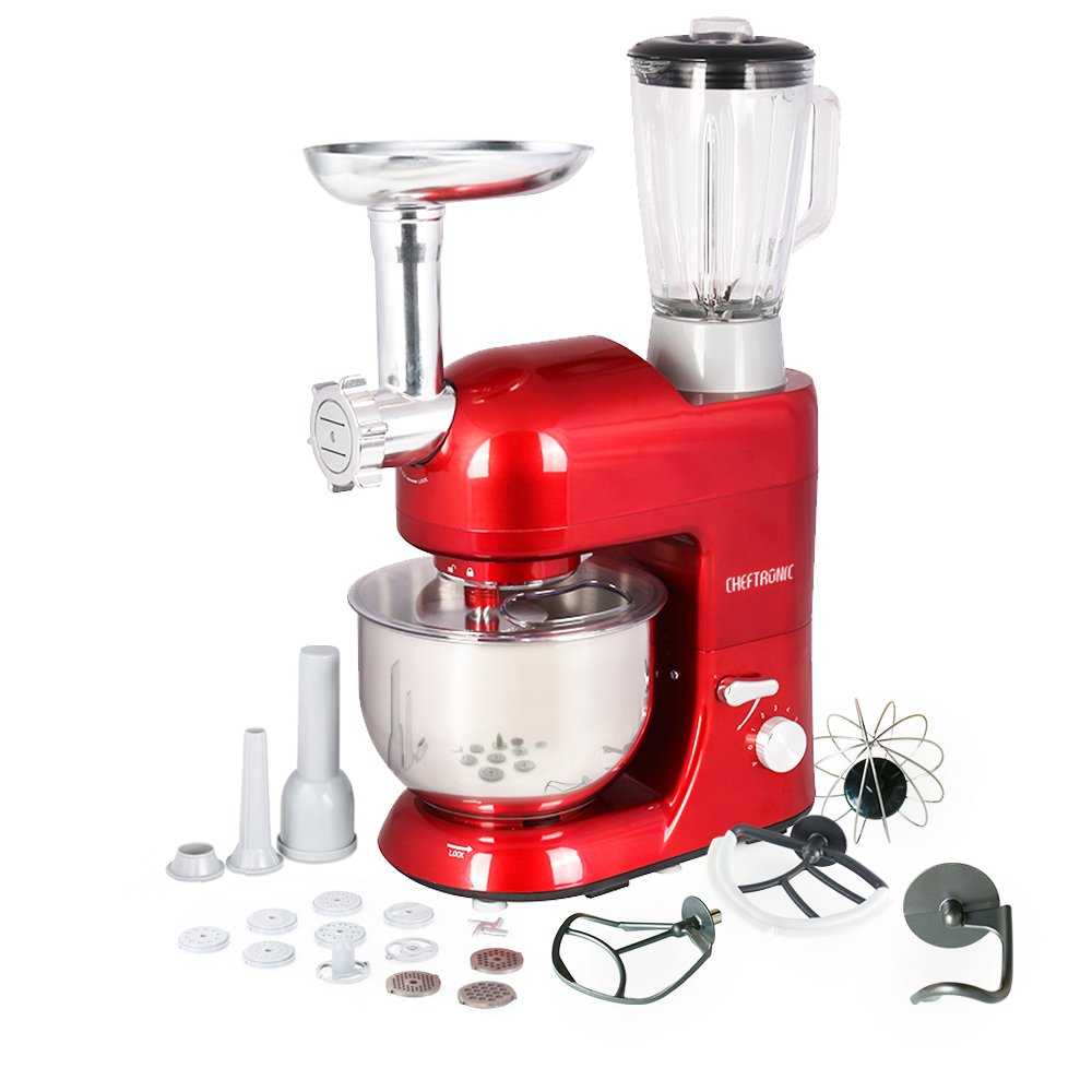 CHEFTRONIC Stand Mixer Tilt-Head 120V/650W Electric Stand Mixer with 5.5QT Stainless Bowl, 6 Speed Multifunctional Kitchen Mixer, Meat grinder, Sausage stuffer, pasta dies and Juice Blender by CHEFTRONIC (Image #1)