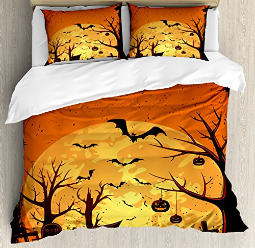Ambesonne Halloween Duvet Cover Set King Size, Grungy Graveyard Cemetery Necropolis with Bats Pumpkins Crosses Cobweb, Decorative 3 Piece Bedding Set with 2 Pillow Shams, Orange Brown Black -