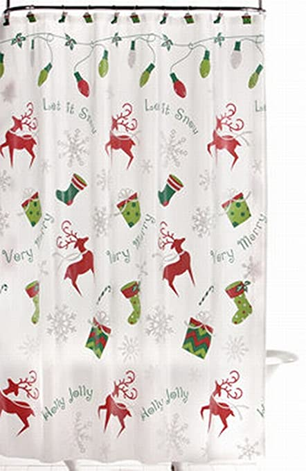 Image Unavailable Not Available For Color BBB Merry Christmas Reindeer Vinyl Shower Curtain
