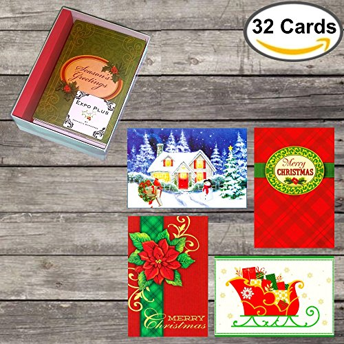 Box Set 32 Christmas Cards: Assorted Designs in Attractive Box with Envelopes, Adorable! -