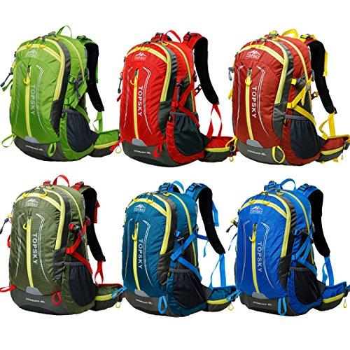 Oxking Topsky Outdoor Hiking Climbing Clycling Canvas Backpack Daypacks Waterproof Tear Resistant Professional Mountaineering bag School Laptop Bag T30665 Shoulder Bag 40L Unisex Trekking Travel Bag Rucksack Multi Colours (Green)