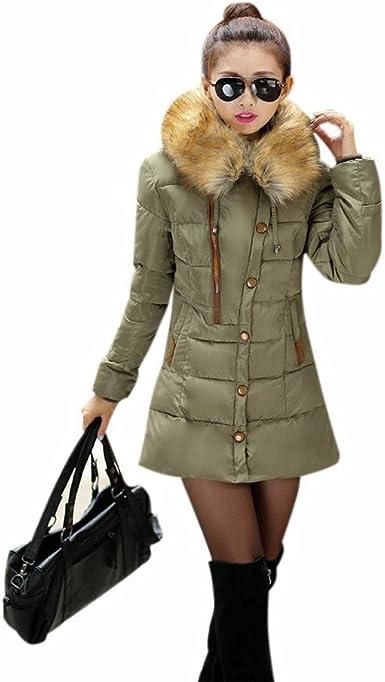 yinuowei piel sintética de mujer con capucha algodón acolchado ...
