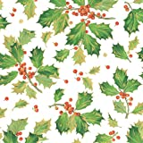 Caspari Entertaining with Continuous Roll of Gift Wrapping Paper, Gilded Holiday White, 8', 1-Roll