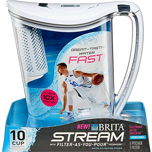 Brita 10-Cup Cataract Filter as You Pour Water Pitcher with 1 Filter, Hydro, BPA Free, Chalk White