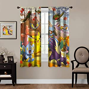 Blackout Curtains for Poke-mon Fans,Pikachu Riolu Chimchar Luxio, Rod Pocket Thermal Insulated Darkening Window Drapes for Bedroom, Cute Animal Boys Girls Room Décor, 2 Panels,63x63 inch