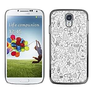 FECELL CITY // Duro Aluminio Pegatina PC Caso decorativo Funda Carcasa de Protección para Samsung Galaxy S4 I9500 // Christmas Black White Holidays