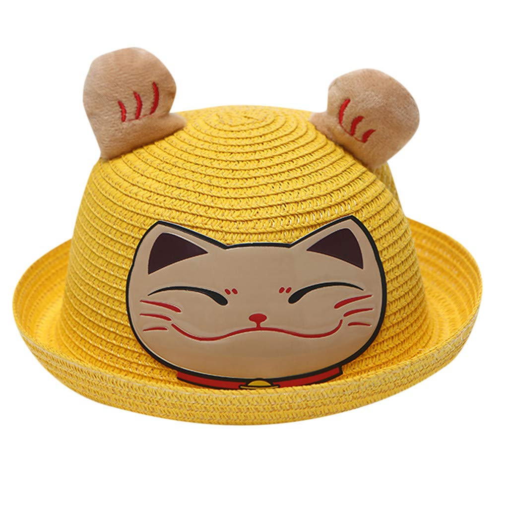 Wesracia Baby Girls Cute Hat Sun Protection,Breathable Soft Straw Hats Cartoon Kitty Hat with Ears 6~24 Months Old (Yellow)