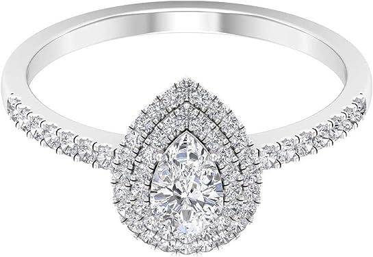 anillo con un diamante corte pera