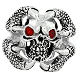 Claw of the Beast Skull Sterling Silver Simulated Ruby Red Cubic Zirconia Eyes