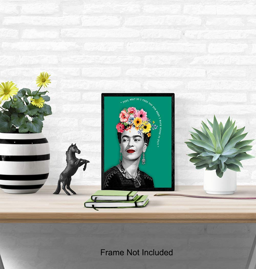 Contemporary Wall Art Poster Living Room Painters Fans8x10 Photo- Unframed Modern Chic Home Decor for Bedroom Girls or Teens Room Gift for Women Office Artists Frida Kahlo Quote Art Print