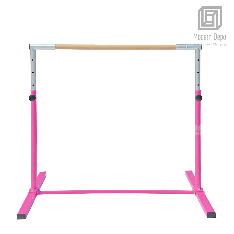 Modern-Depo Junior PRO Gymnastics Kip Bar | Adjustable (3'- 5') Training Horizontal Bar Beech Wood - Pink by Modern-Depo (Image #6)