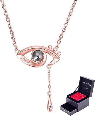 Halskette Herz 100 Sprachen Ich liebe dich Zirkonia 18K Rosegold Projektion