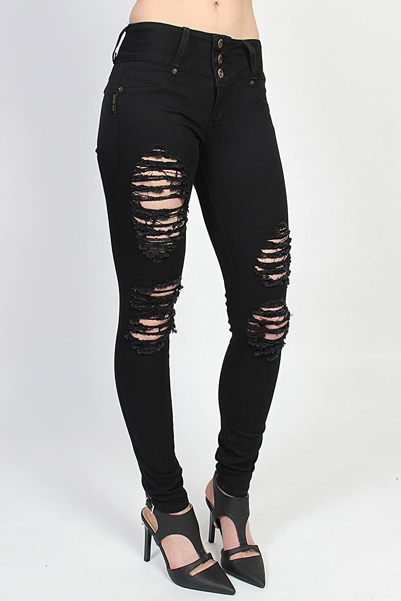 TheMogan Womens Push-Up Hip Super Rip Destroyed Skinny Jeans Soft Black Denim