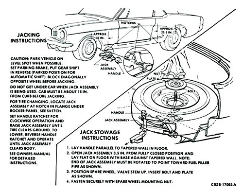 (1967 & 1968 FORD MUSTANG JACKING INSTRUCTIONS DECAL - STICKER - All Models)