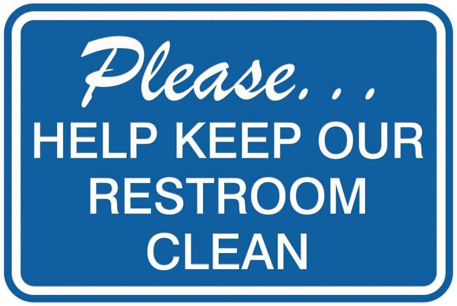 Please Help Keep Our Restroom Clean Wall Door Sign Small Black