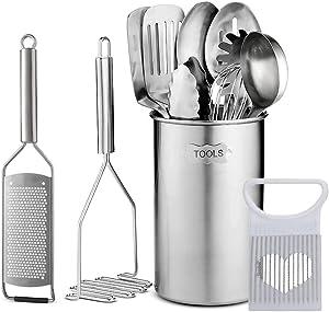 Stainless Steel Kitchen Utensils Set - 12 piece premium Non-Stick & Heat Resistant Kitchen Gadgets, Turner, Spaghetti Server, Ladle, Serving Spoons, Whisk, Tungs, Potato Masher and Utensil Holder