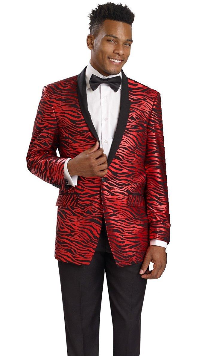E.J. Samuel Zebra Print Black Red Jacket 2 Piece Mens Suit Wedding Tuxedo M2705 Holiday (54R)