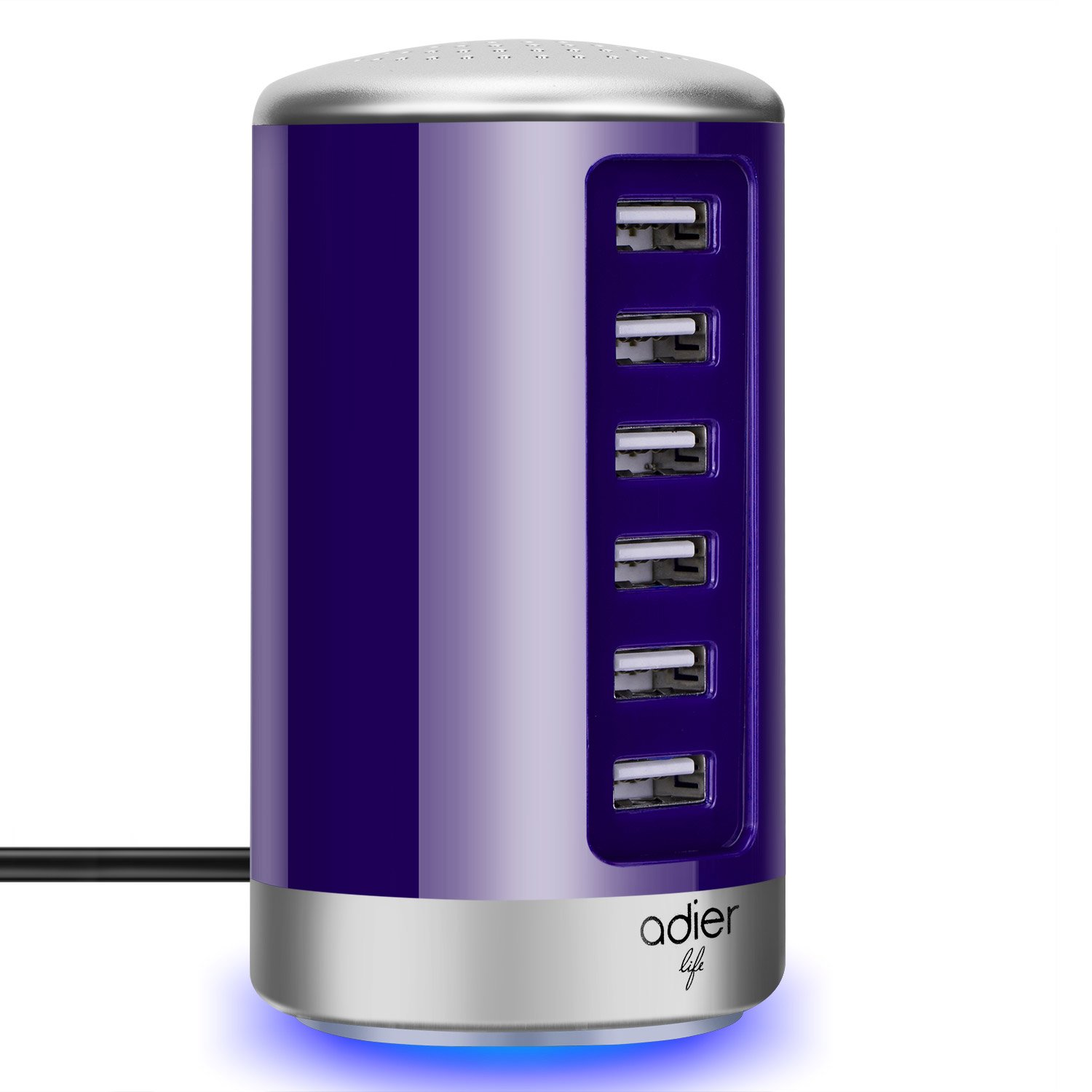 adierlife 6-Port USB Desktop Charger USB Charging Station for Apple iPhone iPad Samsung Galaxy and Other USB Enabled Devices (Purple)
