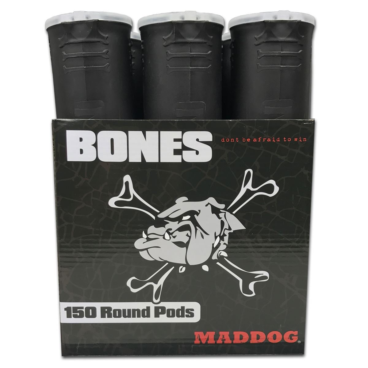 MAddog 150 Round Bones Paintball Pods - Black - 6 Pack by MAddog