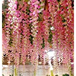Ivyue-12sPack-Wisteria-Vine-Artificial-Silk-Wisteria-Lane-Rattan-Fake-Wisteria-Artificial-Flowers-Garland-Hanging-Flowers-Wisteria-Bush-for-Home-Garden-Party-Wall-Wedding-Decoration-36feet-Pink