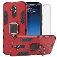 BestAlice Funda para Huawei Mate 20 Lite Case Protector de Pantalla de Cristal Templado, Híbrida Rugged Armor Case Choque Absorción Protección Dual Layer Bumper Carcasa con Pie De Apoyo, Rojo