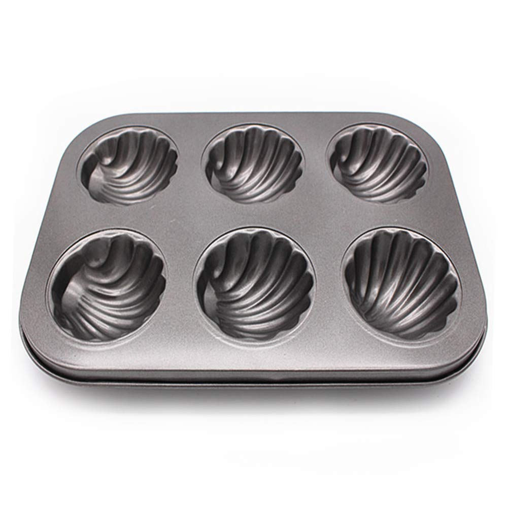 6 Holes/12 Holes Madeleine Cake Baking Tin - Shell Shaped, Portable, Non-Stick Carbon Steel Cake Baking Pan(6 Holes) Lionina