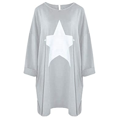 New Italian Ladies Lagenlook Star Print Top Dress One Size 18-28