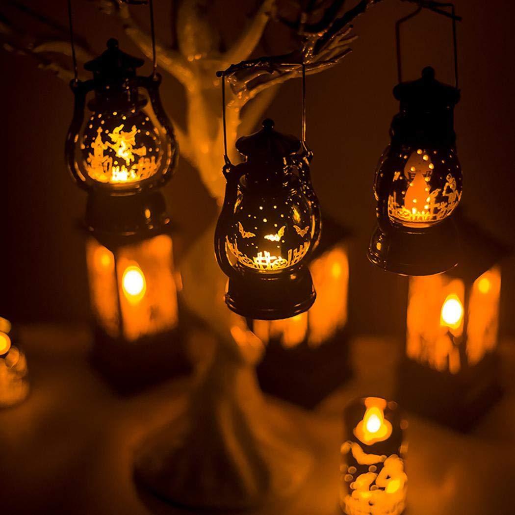 Kaimu Retro LED Lantern Halloween Lamp Hanging Candlelight Light Party Decoration Lanterns