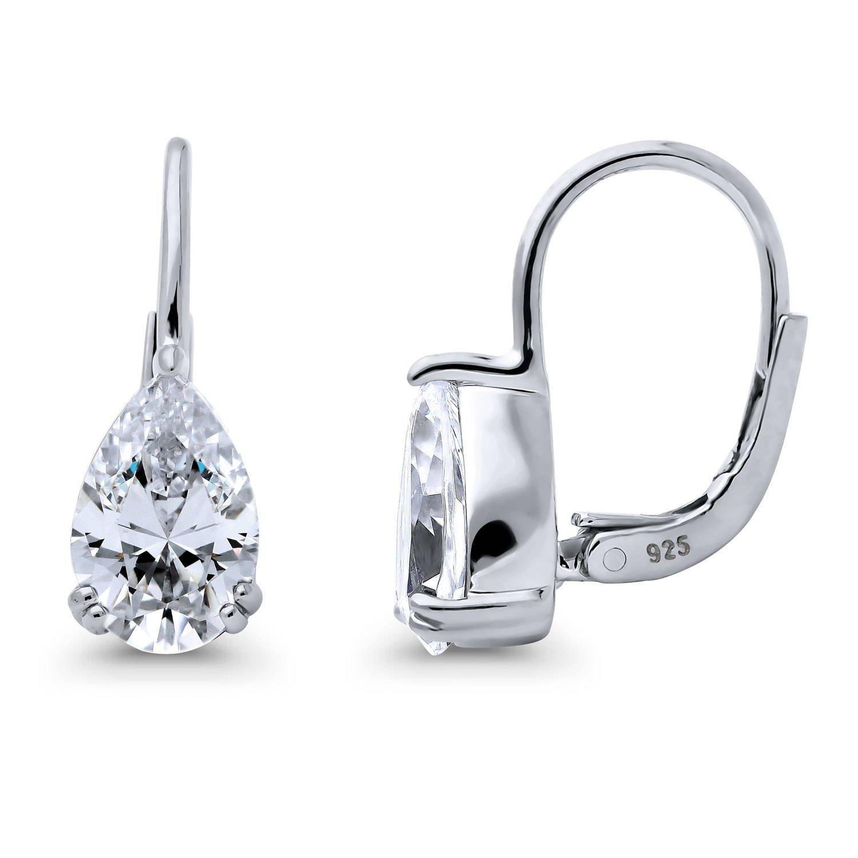 BERRICLE Sterling Silver Cushion Cut CZ Halo Dangle Drop Earrings
