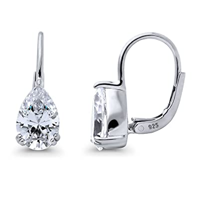 155f340848d26 Amazon.com: BERRICLE Rhodium Plated Sterling Silver Pear Cut Cubic ...