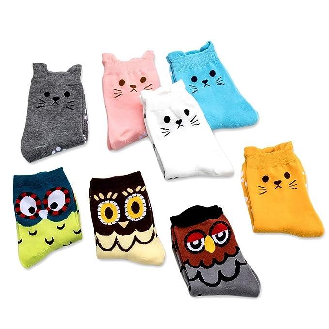 DAYPICKER 8PCS calcetines de algodón corte animal térmicos, Calcetines divertidos del gato Divertido cómodo algodón informal Novedad: Amazon.es: Ropa y ...
